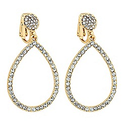 Jon Richard - Open crystal teardrop clip on earring