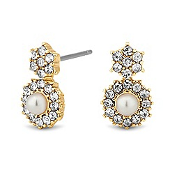 Jon Richard - Mini pearl crystal surround drop earring