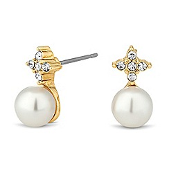 Jon Richard - Gold crystal top and pearl drop earring
