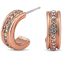 Jon Richard - Crystal embellished rose gold mini hoop earring