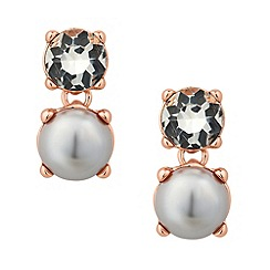 Jon Richard - Crystal and grey pearl rose gold drop earring