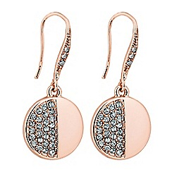 Jon Richard - Rose gold crystal disc drop earring