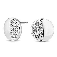 Jon Richard - Polished and crystal embellished round stud earring