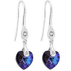 Jon Richard - Heliotrope purple crystal heart drop earring MADE WITH SWAROVSKI ELEMENTS