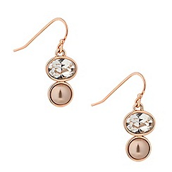 Jon Richard - Crystal rose gold pearl drop earring MADE WITH SWAROVSKI ELEMENTS