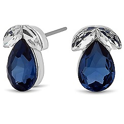 Jon Richard - Blue crystal peardrop stud earring