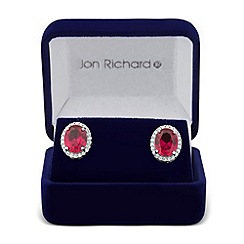 Jon Richard - Red oval cubic zirconia surround stud earring