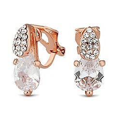 Jon Richard - Rose gold cubic zirconia peardrop clip on earring