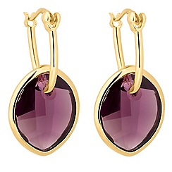 Jon Richard - Amethyst crystal leaf earring MADE WITH SWAROVSKI ELEMENTS