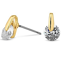 Jon Richard - Round cubic zirconia gold top earring