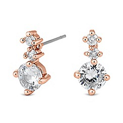 Jon Richard - Graduated cubic zirconia rose gold drop earring