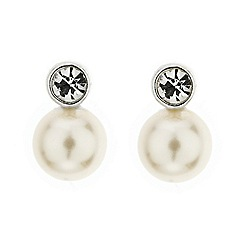 Jon Richard - Crystal and cream pearl stud earring