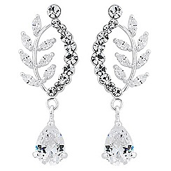 Alan Hannah Devoted - Designer cubic zirconia curved leaf drop earring