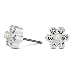 Jon Richard - Vine pearl and crystal stud earring