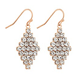 Jon Richard - Rose gold diamante crystal pattern drop earring
