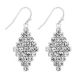 Jon Richard - Silver diamante crystal pattern drop earring