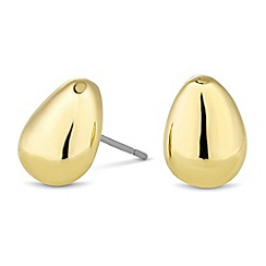 Jon Richard - Polished gold peardrop stud earring