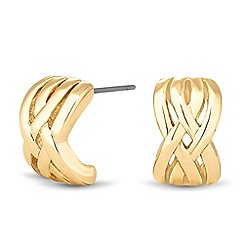 Jon Richard - Polished gold crossover stud earring