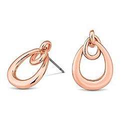 Jon Richard - Rose gold double hoop drop earring