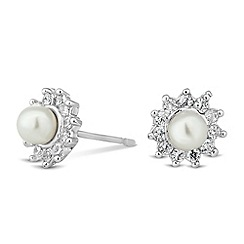 Jon Richard - Mini pearl and crystal cluster stud earring