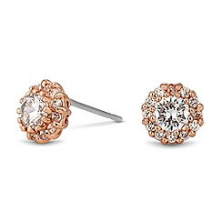 Jon Richard - Clara cubic zirconia rose gold stud earring