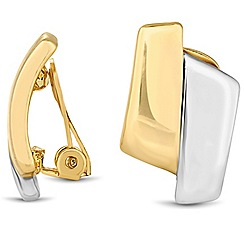Jon Richard - Two tone polished clip on earring