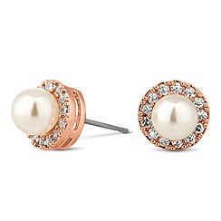 Jon Richard - Mini pearl crystal surround rose gold earring
