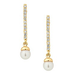 Jon Richard - Crystal encased gold stick pearl drop earring