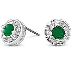 Jon Richard - Clara mini green crystal round stud earring