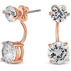 Jon Richard - Rose gold cubic zirconia double drop earring