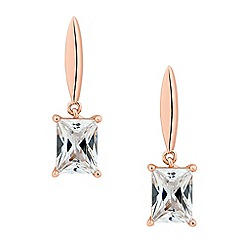 Jon Richard - Rose gold cubic zirconia sleek drop earring