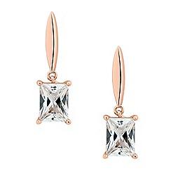 Jon Richard - Rose gold cubic zirconia sleek drop earring