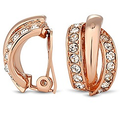 Jon Richard - Rose gold and crystal crossover clip on earring