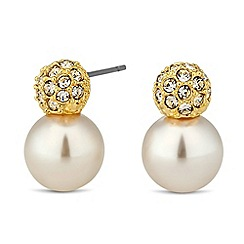Jon Richard - Gold crystal ball pearl drop earring