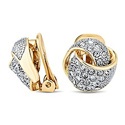 Jon Richard - Crystal embellished knot clip on earring