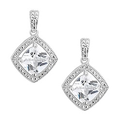 Jon Richard - Cubic zirconia square surround drop earring