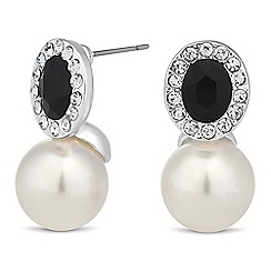 Jon Richard - Cubic zirconia teardrop surround pearl drop earring