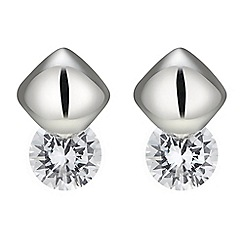 Jon Richard - Polished square and cubic zirconia stud earring