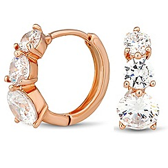 Jon Richard - Graduated rose gold cubic zirconia hoop earring