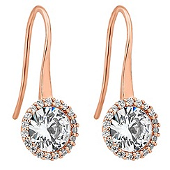 Jon Richard - Clara rose gold cubic zirconia sleek drop earring
