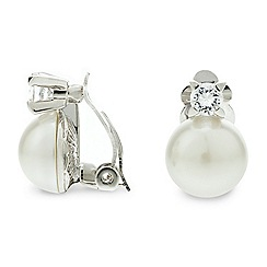 Jon Richard - Cubic zirconia pearl clip on earring