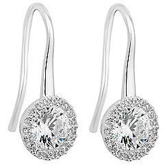 Jon Richard - Clara silver cubic zirconia sleek drop earring
