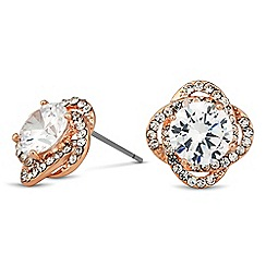 Jon Richard - Rose gold crystal swirl stud earring