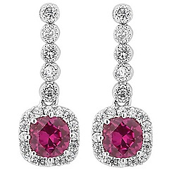 Jon Richard - Red cubic zirconia mini drop earring