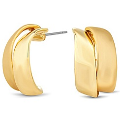Jon Richard - Polished gold double curve stud earring