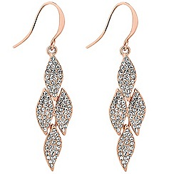 Jon Richard - Rose gold crystal four leaf drop earring