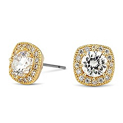 Jon Richard - Clara cubic zirconia gold square stud earring