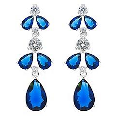 Jon Richard - Blue cubic zirconia teardrop cluster drop earring