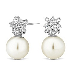 Jon Richard - Cubic zirconia cluster pearl drop earring