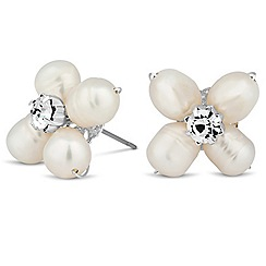 Alan Hannah Devoted - Designer pearl and crystal flower stud earring
